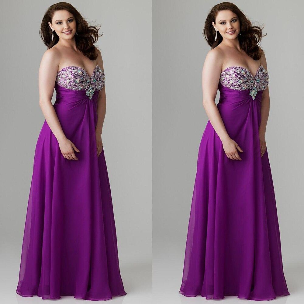 Cute Sweetheart Fuchsia/Purple Plus Size Prom Dresses Long ...