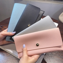 Candy Color Women Slim Leather Wallet Girls Lady Long Design Hasp Envelope Purse Simple Coin