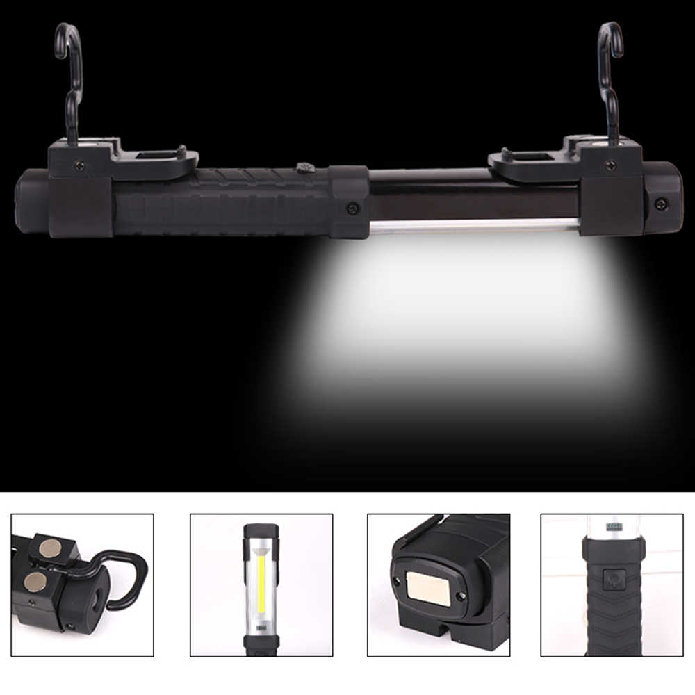 แม่เหล็กไฟฉาย COB + LED Light USB ไฟฉายชาร์จไฟฉายซ่อมโคมไฟ Hook แบบพกพาไฟฉาย