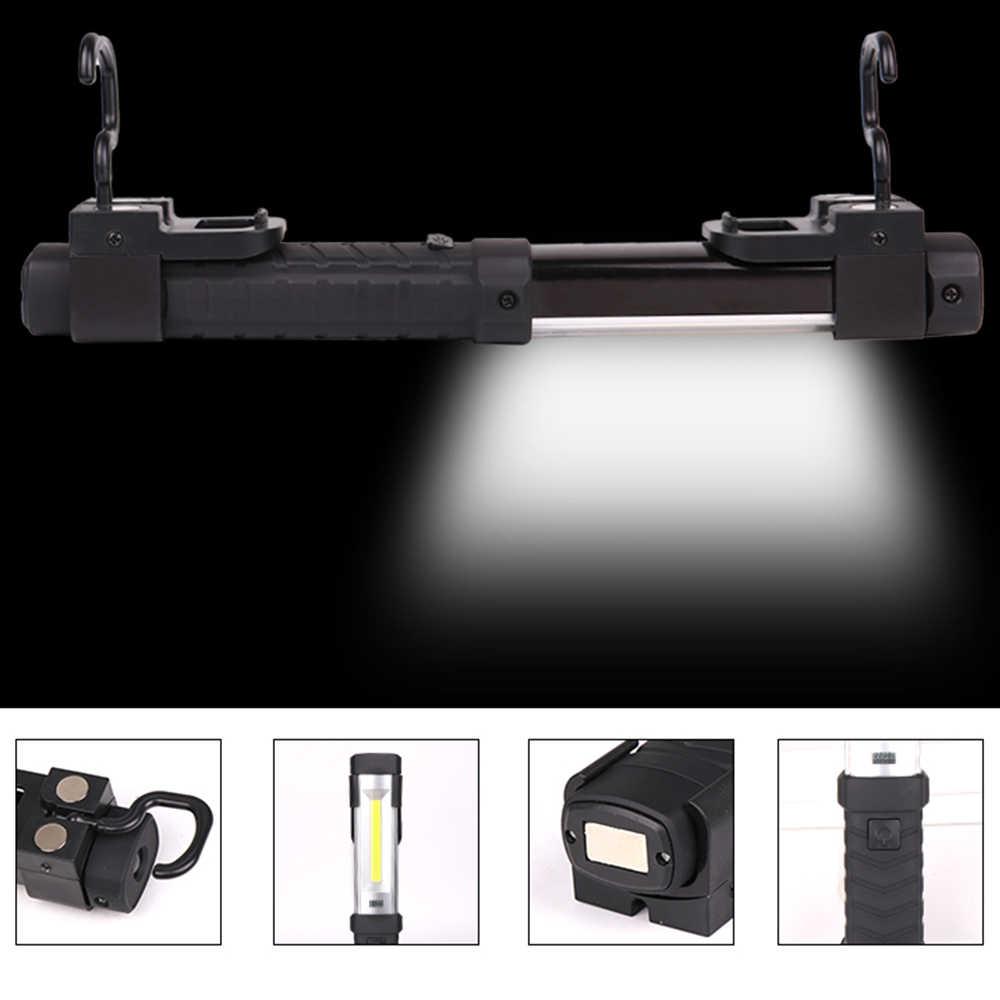 מגנטי פנס COB + LED עבודה אור USB פנס נטענת לפיד תיקון אור מנורת עם וו נייד פנס