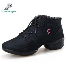 цена на New Jazz Slip On Dance Sneakers Dancing Shoes For Ladies Dance Shoes Lace Mesh Women's Dancing Shoes High-heeled Adjusted