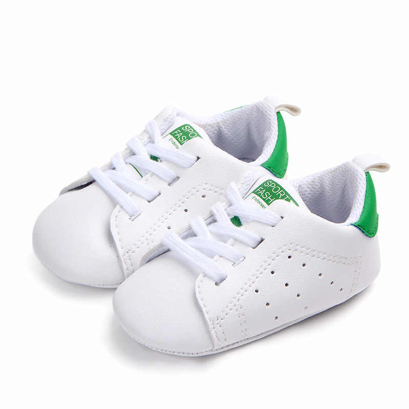 Infant Newborn Baby Boy Girl Casual Shoes Soft Sole Shoes Lace up PU Pram Shoes Trainers 0-18Months