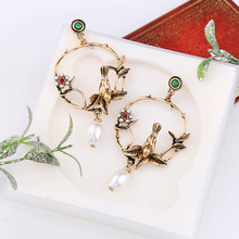 White Flower Pattern Boho Birds Round Women Crystal Vintage Alloy Golden Simulated Pearl High Quality Dangle Earrings