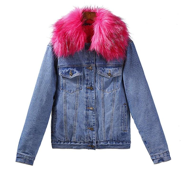 Coton Manteau Mode Ljj0227 De La Col gray Plus Épais Denim Black red Peluche Poilu Chaud Femmes 2018 Taille Femme Nouvelle Hiver Fourrure Casual Veste En wYxH17pF