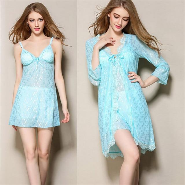 Сексуальные женщины Халат Наборы пижамы полноценно шелк выдалбливают Три Четверти рукав пижамы (халат + ремни ночной рубашке) из двух частей