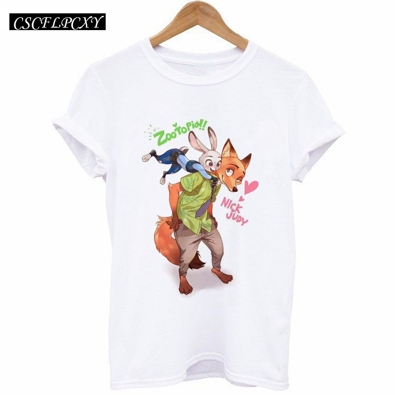 New 2017 Summer T-shirt Women Zootopia Fox And Rabbit Print Tee Shirt Femme Casual T-shirt For Short Sleeve Hipster Tops White