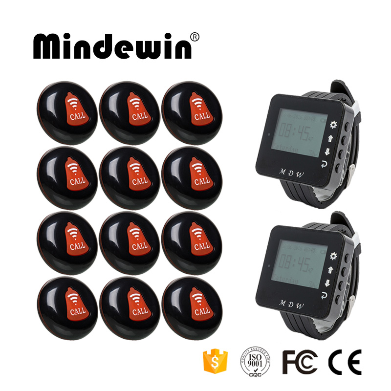 Mindewin Restaurant Wireless Call Button Waiter Calling System 12PCS Call Button M-K-1 and 2PCS Watch Pager M-W-1 wireless pager system 433 92mhz wireless restaurant table buzzer with monitor and watch receiver 3 display 42 call button
