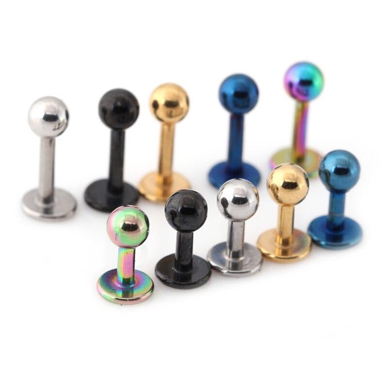 5pcs Small Earrings Medical Titanium Steel Stud Earring Punk Rod Flat T-Type Screws Male Ear Nail Piercing Jewelry Women
