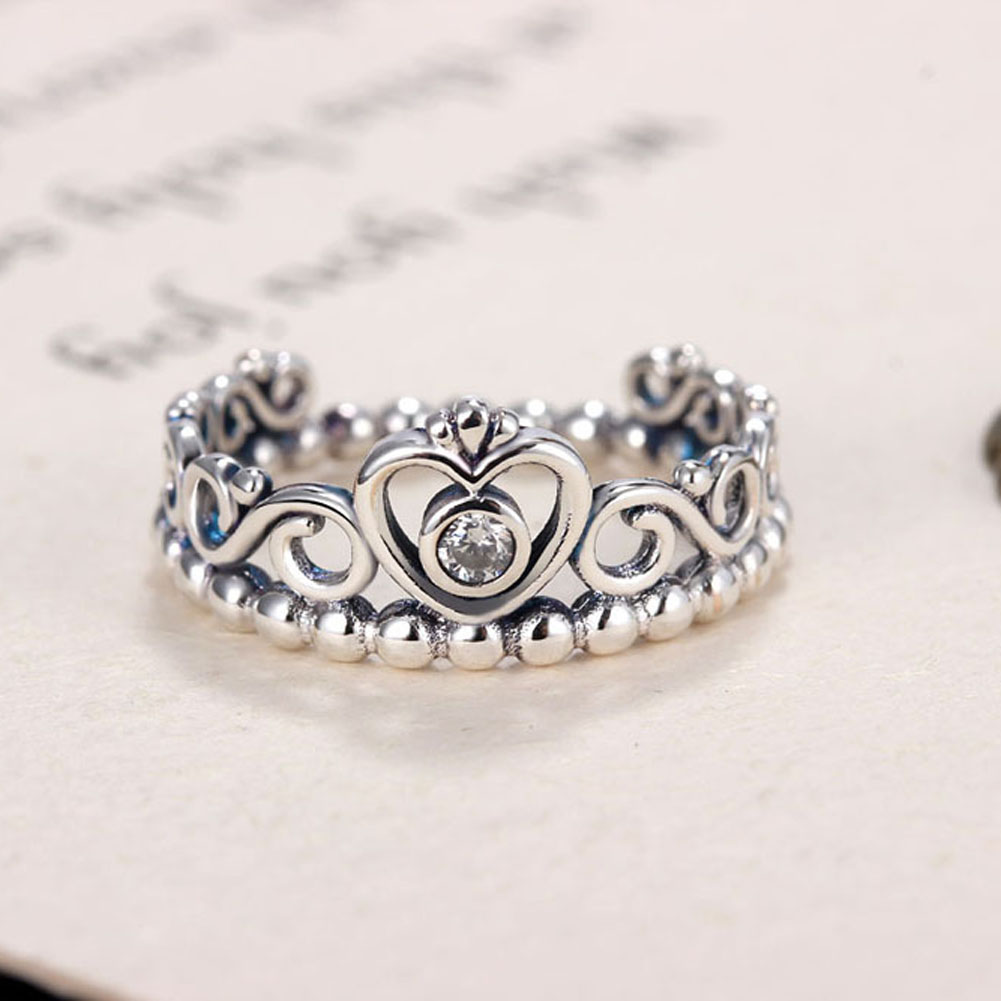 2017 New Silver Princess Tiara Rings For Women with AAA Zircon Vintage Silver Princess Crown Rings For Women Wedding Jewelry(China)
