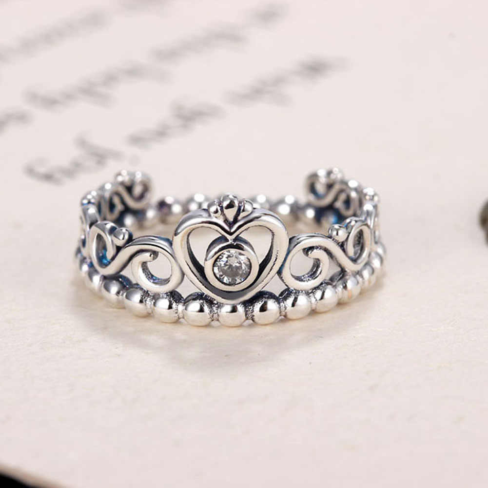 2017 New Silver Princess Tiara Rings For Women with AAA Zircon Vintage Silver Princess Crown Rings For Women Wedding Jewelry