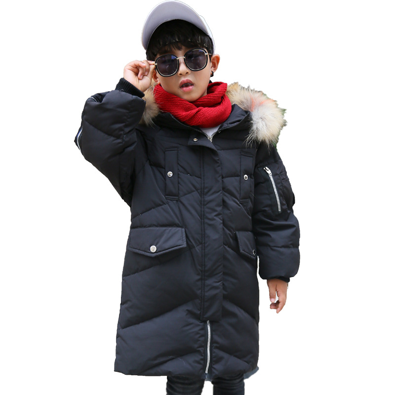 Winter Boys Long Thickened Warm White Duck Down Jacket Kids Big Fur Collar Hooded Down Coat Boys Down Snowsuit Jacket -30 Degree kn 33 women s winter wear stylish thickened warm hooded down jacket coat army green xl