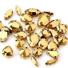 Стразы высокого качества с пришивкой золотого цвета, с пришивным клешом, с плоской задней поверхностью, Серебристые/Золотые стразы для шитья, стразы для рукоделия, одежды B1239