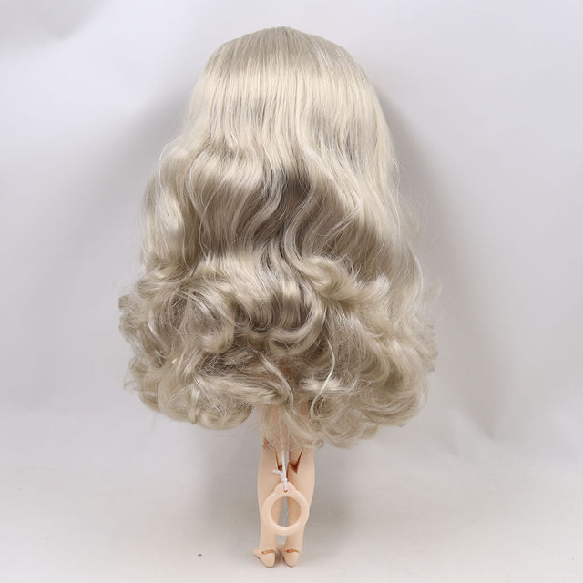 Blyth doll 1/6 bjd white skin joint body Cute silver curls hair new matte face with eyebrows Lip gloss ICY sd high quality toy