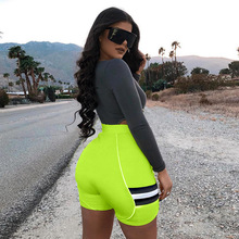 New Patchwork Gym Shorts High Waist Sports Women Tight Workout Skinny Running Jogger Short athletic shorts