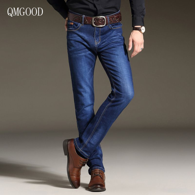 QMGOOD Brand 2017 Men's Stretch Jeans Fashion Simple Casual Business Pant Slim Fit Straight Leg Medium Washed Denim Size 28-40 sulee brand 2017 new fashion business men jeans cotton denim jeans casual straight washed pants stretch jeans plus size 28 40