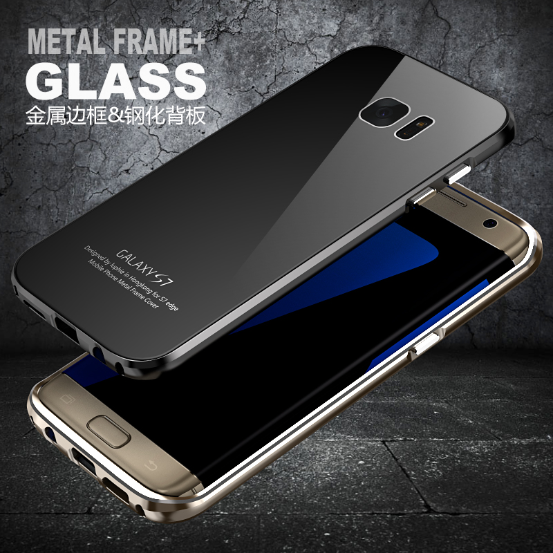 For Samsung Galaxy S7 Edge G9350 G935F Case Luphie Brand Luxury Aviation Aluminum Frame Tempered Glass