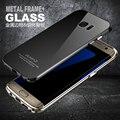 Para Samsung Galaxy S7 Borda G9350 G935F Caso Luphie Marca Moldura de Alumínio De Aviação + Vidro Temperado Tampa Traseira Do Telefone de luxo casos