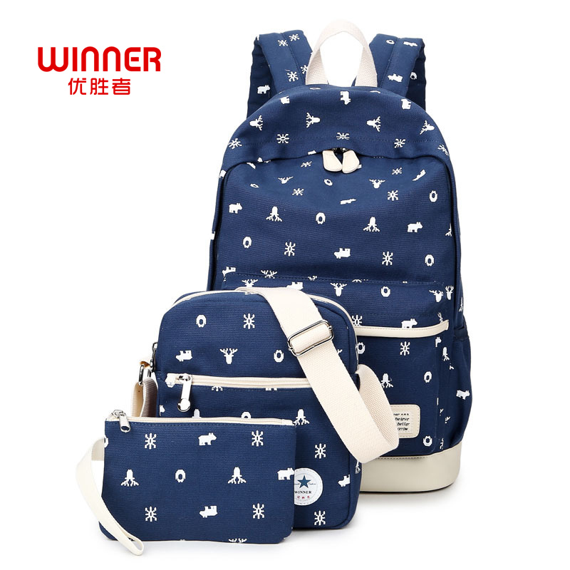WINNER 3Pcs Set Girl School Backpack Bags for Teenagers Bookbags Laptop Backpacks Women Desinger Canvas Snow