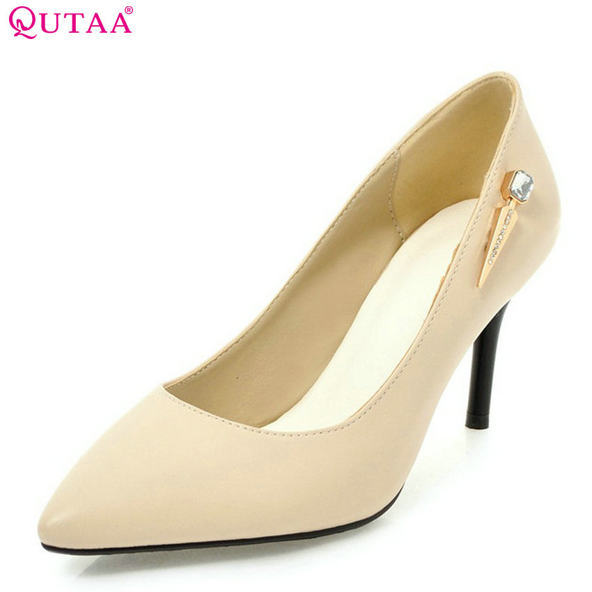 QUTAA 2018 Women Pumps Pu Leather Fashion All Match Thin High Heel Pointed Toe Sexy Casual Ladies Wedding Pumps Size 34-43 qutaa 2017 women over the knee high boots all match pointed toe high quality thin high heel pointed toe women boots size 34 43
