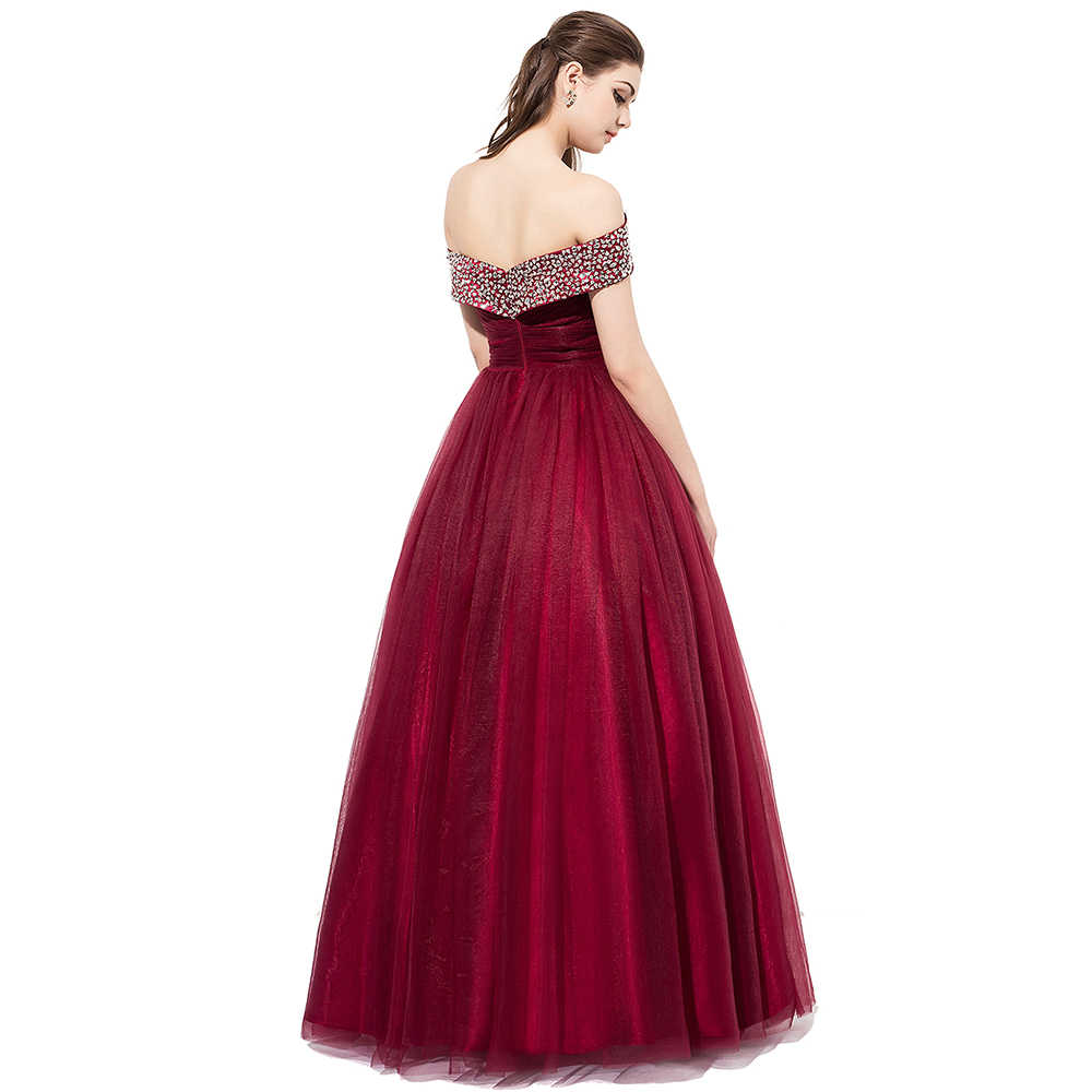 ... BeryLove Long Burgundy Prom Dresses 2018 Off Shoulder Beading Tulle  Evening Dresses Women Prom Gowns Special ... a88aed7af0d8