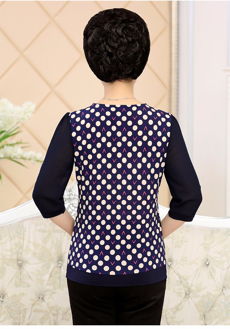2017 Mother Chiffon Blouses Floral Print Tops Middle Aged Woman's Three Quater Sleeve Tunic Mature Lady Short Shirts O-neck Tops Plus Size Blouse (7)