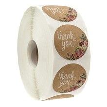 Крафт Цветочные Спасибо наклейки-1 дюйм круглые этикетки/500 в упаковке