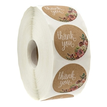 Kraft Floral Thank You Stickers - 1 inch Circle Labels / 500 Per Pack glucosamine for joint support 500 mg 20 tablets per pack 2 pack