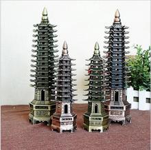 Torre de Wenchang decoración 9 capas y 13 capas de negocio genuino regalos muebles para el hogar decoración de la artesanía de metal modelo de construcción