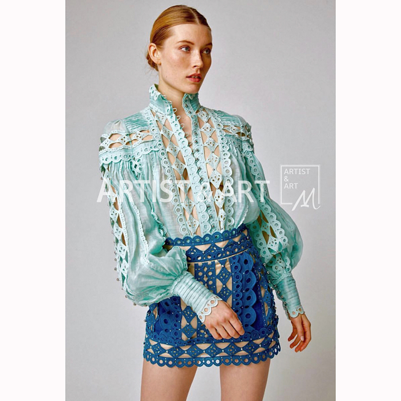 Svoryxiu 2019 Runway Sexy Hollow Out Embroidery Blouse Shirt Women s Elegant lantern Sleeve Beading luxury