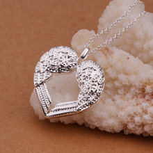 Thời trang Vintage 925 Sliver Rhinestone Peach Tim Angel Wing Mạ Bạc Pendant Necklace Chain Jewelry NL-0603(China)