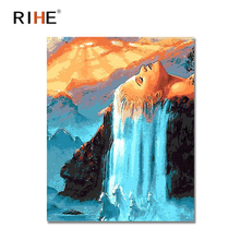 RIHE Hair Waterfall Diy Painting By Numbers Woman Sunset Oil On Canvas Cuadros Decoracion Acrylic Wall Picture For Room