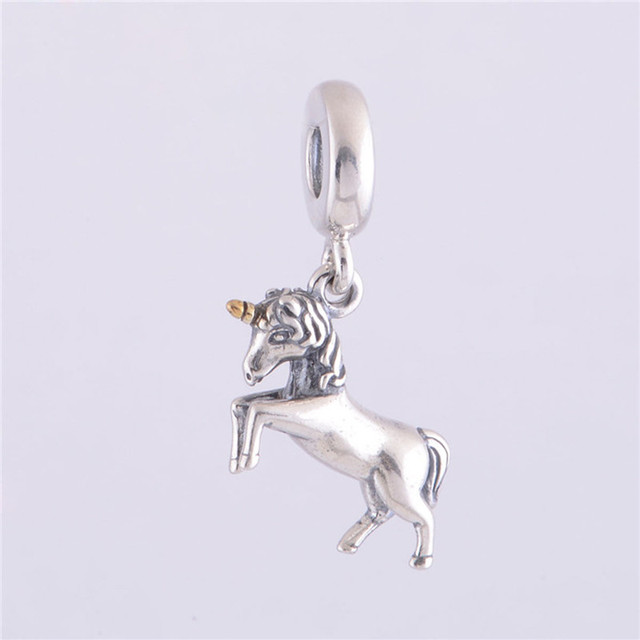 Contas esterlina-prata unicórnio charme beads serve pandora encantos de prata pulseiras mulheres jóias diy fazendo slw278 original europeu