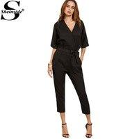 Sheinside Female Solid Black Surplice Front Self Tie Rompers Work Wear Half Sleeve Twin Pockets V