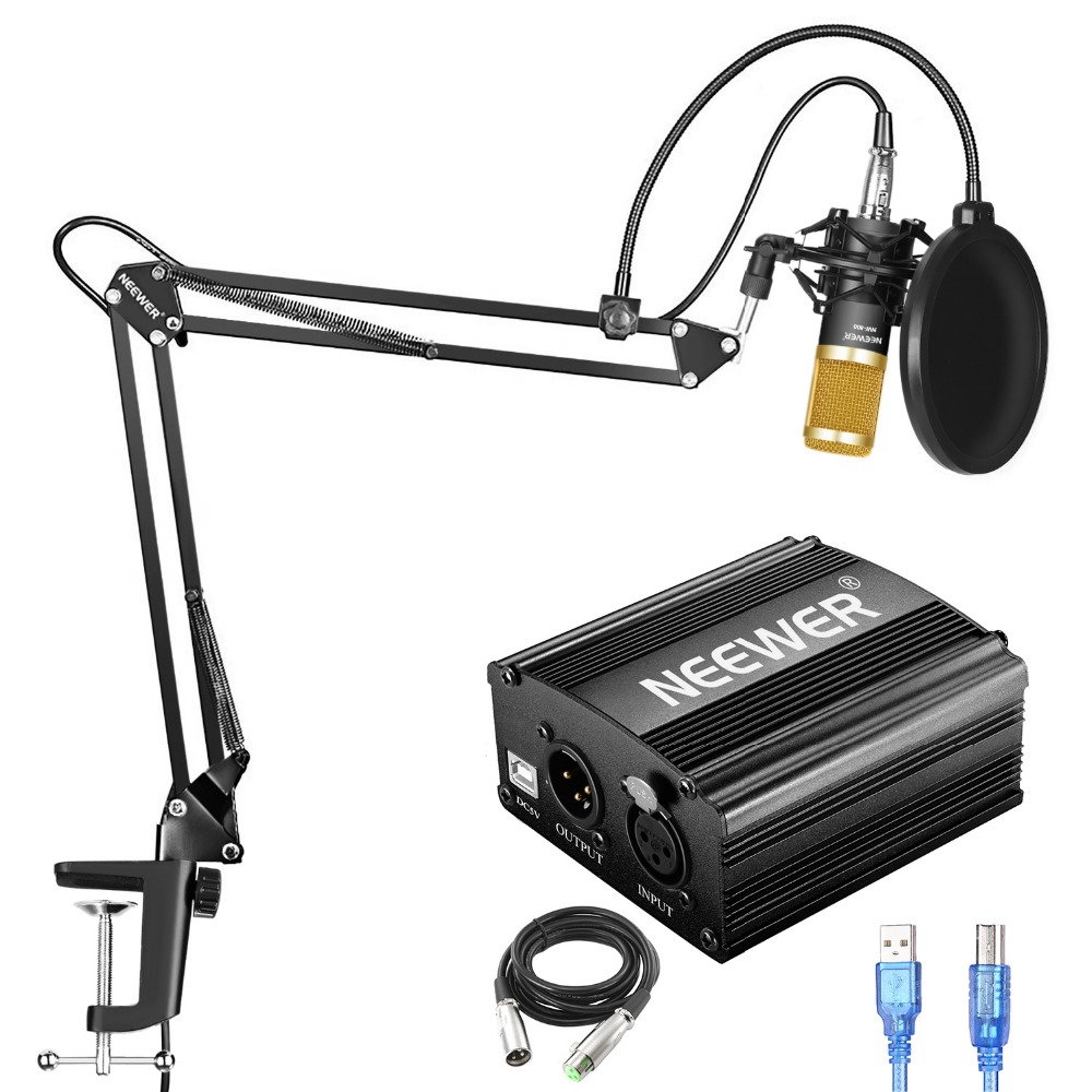 Neewer NW-800 Condenser Microphone Kit with USB 48V Phantom Power Supply, NW-35 Suspension Arm Stand, Shock Mount, Pop Filter