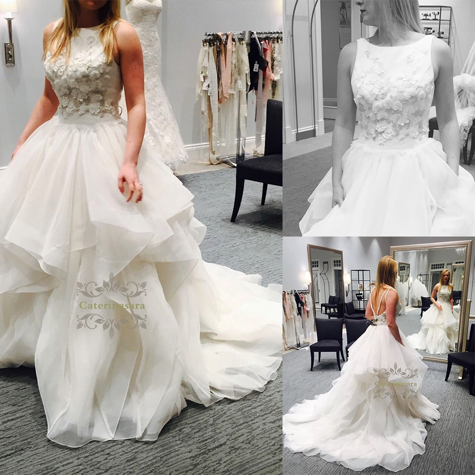 Ball Gown Bateau Neck Wedding Dresses Court Train Beaded Lace Bride Gowns with Flowers Pleated Backless Design