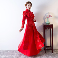 Traditional Folk Red Cheongsam Dress Women Anceint Royal Lady Wedding Dress Retro Long Sleeve Bride Cheongsam Toast Qipao