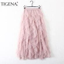 TIGENA 패션 투투 얇은 명주 그물 치마 여성 긴 맥시 스커트 2020 한국어 귀여운 핑크 높은 허리 Pleated 치마 여성 학교 일 spodnica