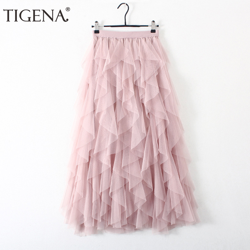 TIGENA Fashion Tutu Tulle Skirt Women Long Maxi Skirt 2019 Korean Cute Pink High Waist Pleated Skirt Female School Sun Spodnica