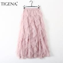 TIGENA Fashion Tutu spódnica z tiulu damska długa, maksi spódnica 2020 koreański śliczne różowe wysokiej talii plisowana spódnica kobieta szkoła słońce spodnica