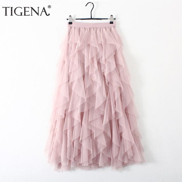 f0501149d TIGENA de moda Tutu tul falda mujeres Falda larga Maxi 2019 Primavera  Verano coreano negro Rosa cintura alta Falda plisada Mujer