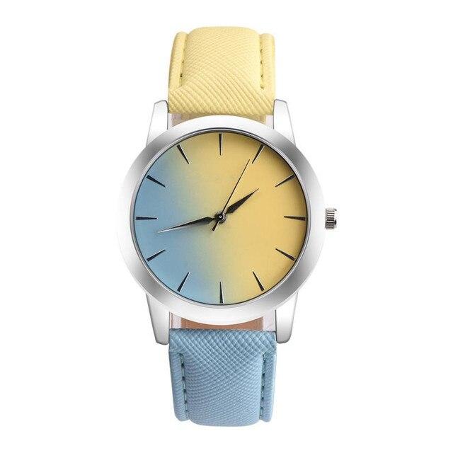 3851a79d8fd Retro Design Do Arco Íris relógio das Mulheres do top de luxo Liga PU  Pulseira de