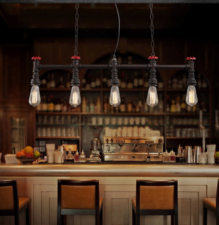 Retro Loft Style Water Pipe Lamp Edison Pendant Light Fixtures Vintage Industrial Lighting For Dining Room