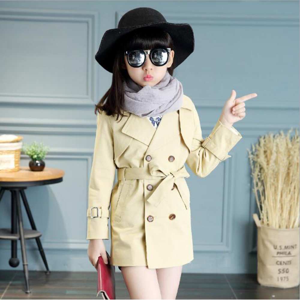 Girls Trench Coat Autumn 2017 Children Long Coat Kids Cotton Outerwear Jackets Girl Clothing Fashion Outwear For Girl 5-14 Yrs 2018 autumn girls long trench outerwear coats children s hooded embroidery letter long trench coat kids casual long sleeve coat