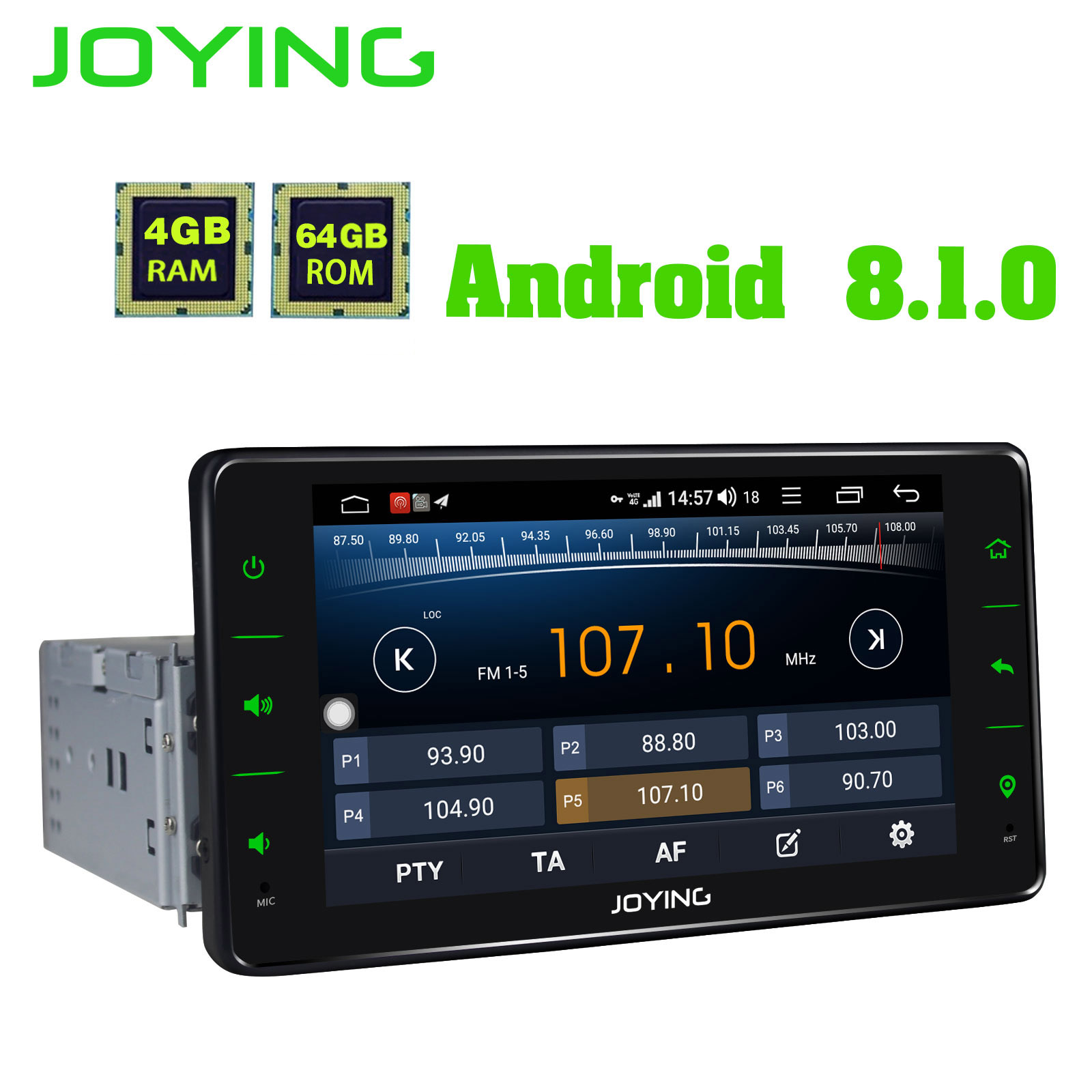 JOYING 6 2 inch 4GB 64GB Car Radio player GPS Android 8 1 Octa Core support