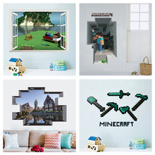 Popular Game Minecraft Wall Stickers For Kids Room Home Decor 3d Window Broken Hole Mural Art Children Wall Decals Pvc Poster цена и фото