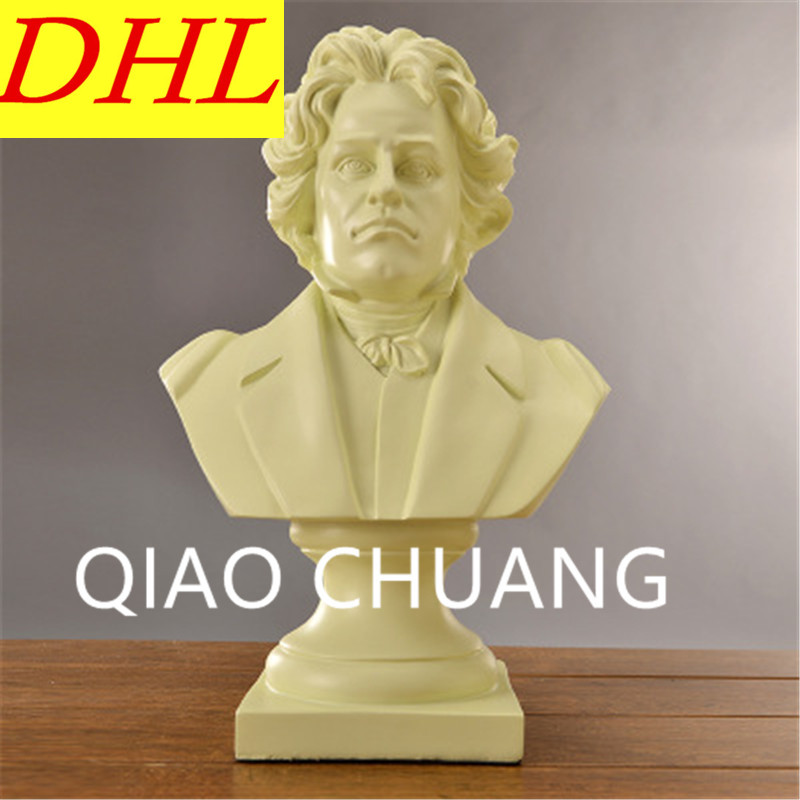 Viennese Classical School Pianist Ludwig Van Beethoven BUST Statue Creative Colophony Crafts Living Room Decoration G1006 retro music ludwig van beethoven bust franz joseph haydn statue colophony crafts sketch teaching collectible decorations l2352
