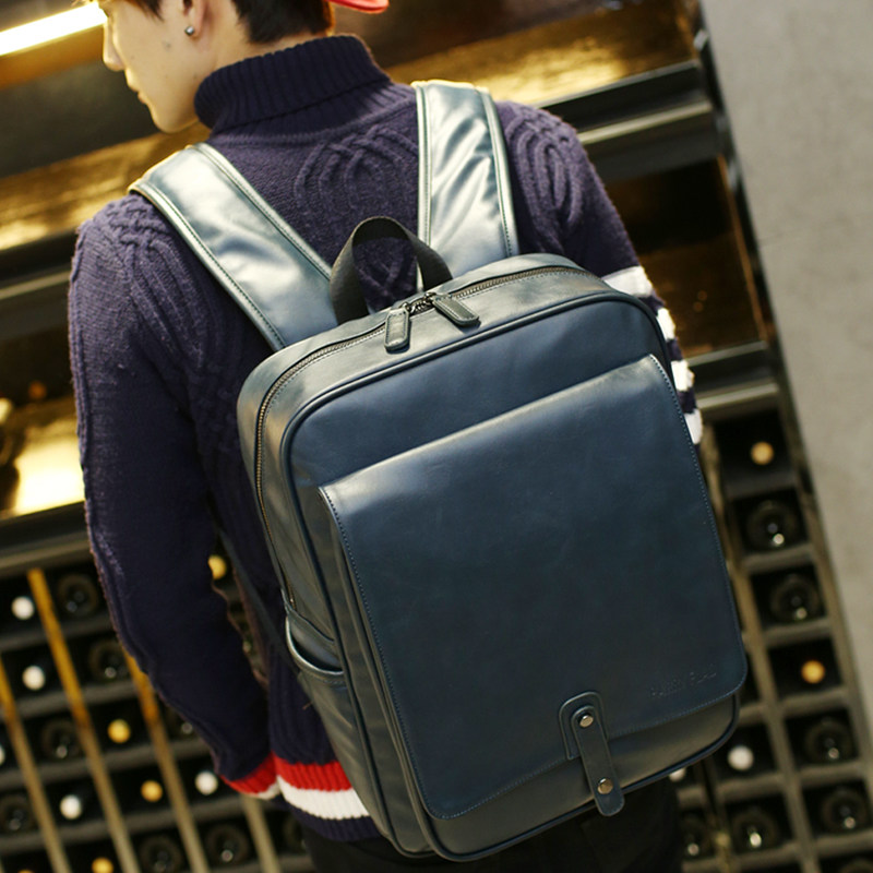 Trendy Succinct High Quality PU Leather Backpack Men Fashion Korean Style Simple Casual Bag Men Trendy Travel Backpack waterproof fashion simple men backpack