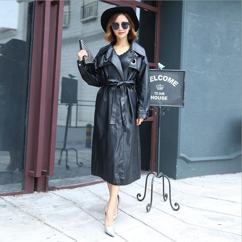 Spring autumn new fashion brand Pu   leather   coats female long sleeve sashes slim jackets women loose outerwear gx1715 dropship