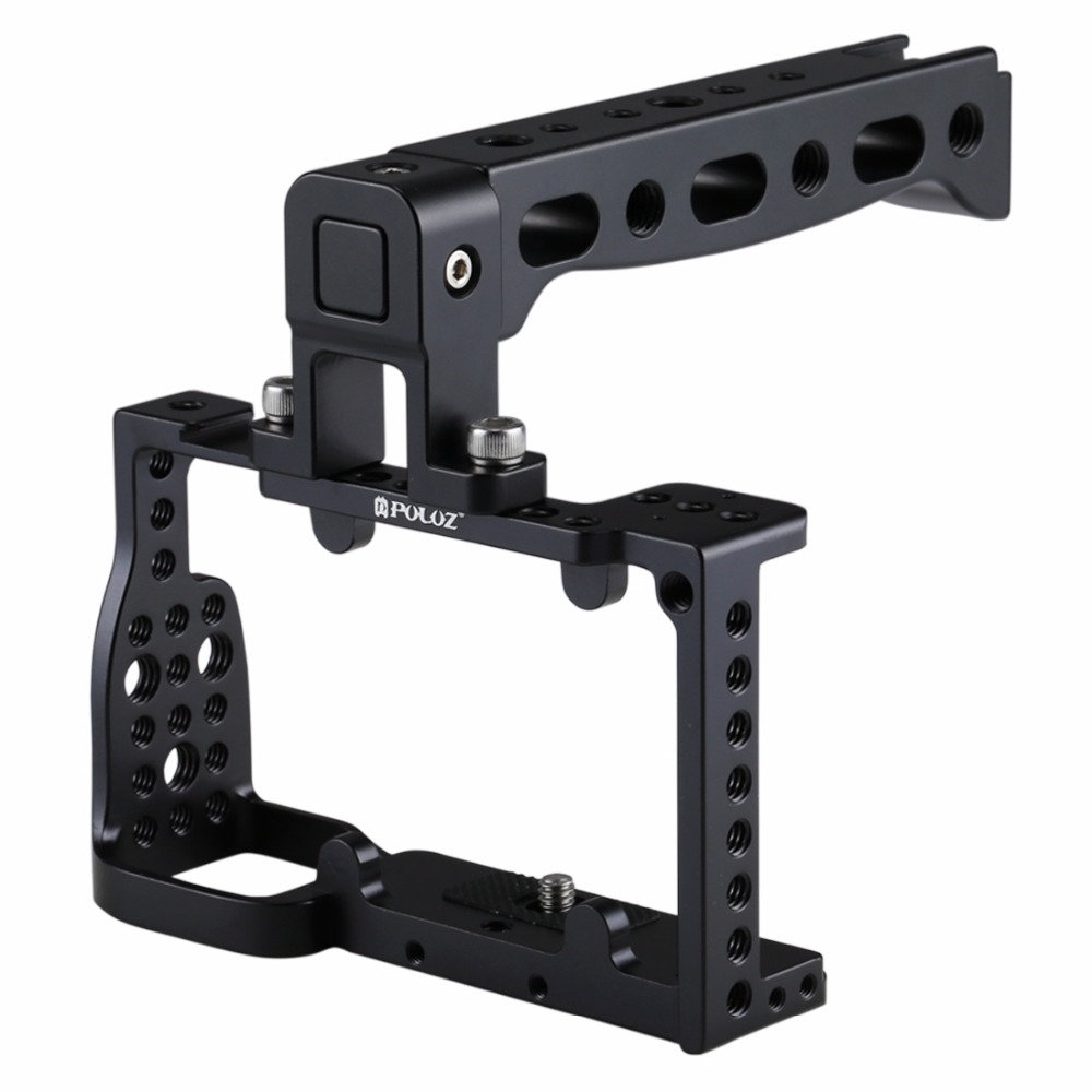 PULUZ Camera Cage Handle Stabilizer Neewer Aluminum Corrosion Resistant and Durable Camera Cage for Sony A6300 / A6000 (Black) цена и фото