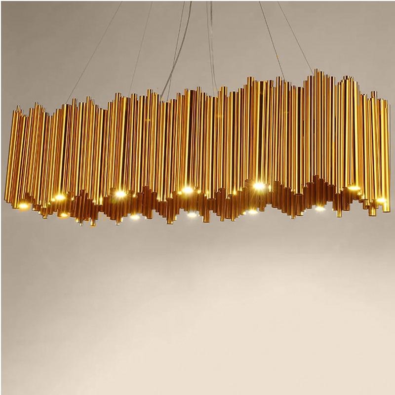 Post modern pendant light Creative organ design Arts Aluminum Tube plating luxury G9 LED Light For Bedroom Living Room Restauran